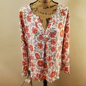 Sigrid Olsen White Floral Long Sleeve Blouse Large